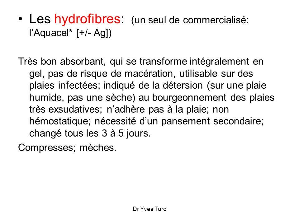 Les hydrofibres: (un seul de commercialisé: l'Aquacel* [+/- Ag])